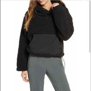 NWT ZELLA Cassie black Faux Shearling hoodie